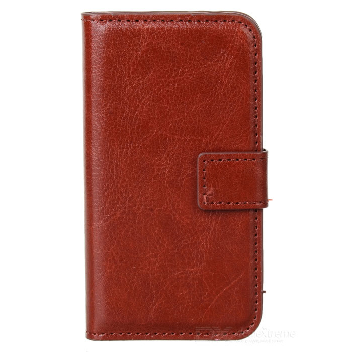 AZNS Stylish PU Leather Flip-Open Stand Case for Iphone 4 / 4S - Brown stylish flip open pu leather tpu case w holder for iphone 4 4s red