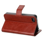 AZNS Stylish PU Leather Flip-Open Stand Case for Iphone 4 / 4S - Brown
