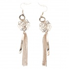 Elegant Charming Hollow Out Rose Tassel Women's Earrings - Golden (Pair)