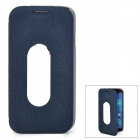 Wood Pattern Protective PU + Aluminum Case for Samsung Galaxy S4 - Deep Blue