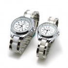 Fashion Couple's Stainless Steel Digital Quartz Wrist Watches - Silver + White (1 x 377 2 PCS)