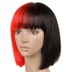 6367 2-DF1 Stylish Middle Separated Color Short Straight Silk Hair Wig - Black + Red