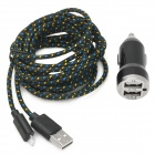 Dual-USB Car Charger Adapter + USB to 8-Pin Lightning Data / Charging Nylon Cable for iPhone 5