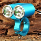 2 x Cree XM-L U2 1200lm 4-Mode White Bicycle Light - Blue + Silver (4 x 18650)
