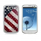 American Flag Crystal Decorated Protective Plastic Back Case for Samsung Galaxy S3 i9300 - Red