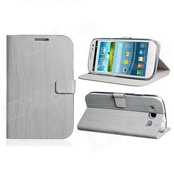 Wood Pattern Protective PU Leather Flip Case Cover Stand for Samsung Galaxy S3 i9300 - Grey