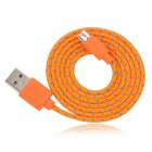 USB Male to Micro USB Male Braided Data Sync & Charging Cable - Orange (98cm)