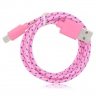 USB Male to Micro USB Male Braided Data Sync & Charging Cable - Pink (98cm)