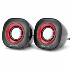 SENICC SN-458 Mini Desktop Digital Speaker - Black + Red + Silver (Pair)