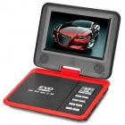 "FJD-760 Portable 7"" LCD HD Mobile DVD w/ TV, FM, Card Reader, Game and USB - Red + Black"