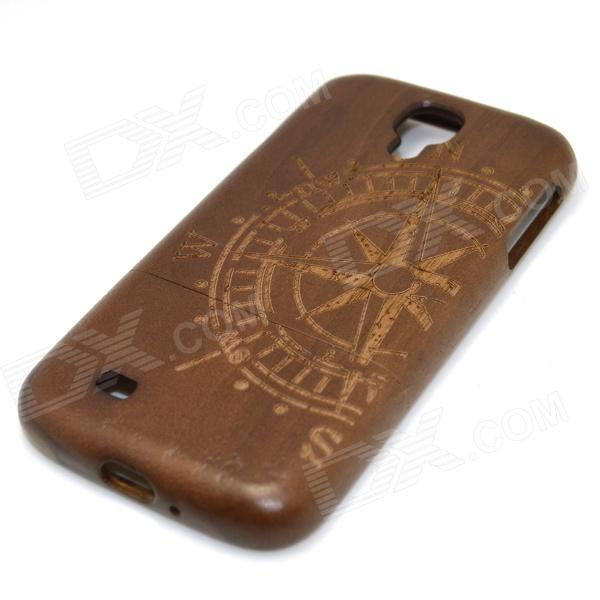 Compass Pattern Detachable Protective Wooden Back Case for Samsung Galaxy S4 i9500 - Brown + Black protective cute spots pattern back case for samsung galaxy s4 i9500 multicolored