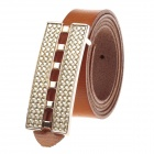 T.acttion 80707-4B Fashion Cow Split Leather Women's Waist Belt w/ Zinc Alloy Buckle - Brown