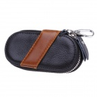 S-009 Portable PU Leather Zipper Car Key Holder Case Bag - Black+Brown