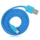 USB Male to Micro USB Male Braided Cable - Blue + Red (100cm)