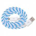 USB Male to Micro USB Male Braided Data Sync & Charging Cable - Blue + White (100cm)