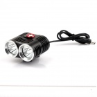 NITEFIRE NFC-24 2 x Cree XM-L 1200lm 3-Mode Cold White Light Lamp for Bicycle - Black (4 x 18650)
