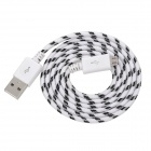 USB Male to Micro USB Male Braid Data Sync & Charging Cable - White + Black (100cm)