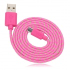 USB Male to Micro USB Male Braided Data Sync & Charging Cable - ORed + Green  (100cm)
