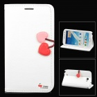 HELLO DEERE Cherry Series Protective PU Leather Case for Samsung Galaxy Note 2 N7100 - White