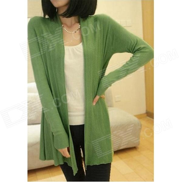 Women's Long Sleeve Casual Knitwear Thin Cardigan - Green