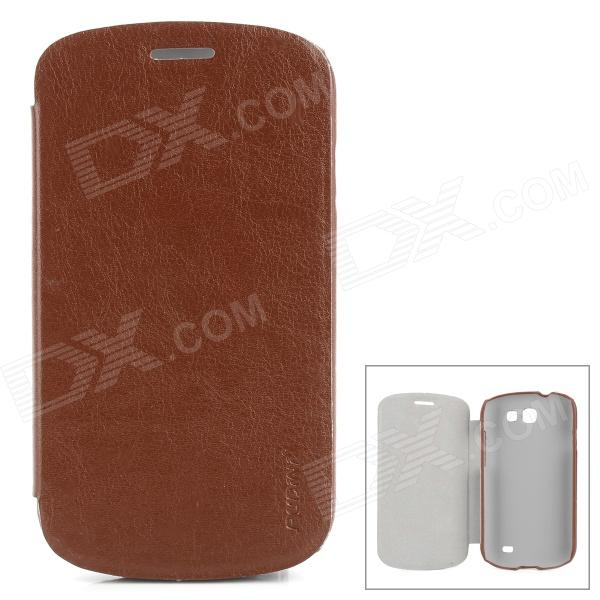 PUDINI WB-i8730R Protective PU Leather + PC Case for Samsung Galaxy Express i8730 - Brown protective frosted abs back case for samsung galaxy express i8730 white
