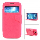 NEWTONS Protective PU Leather Case w/ Sleep Mode for Samsung Galaxy S4 i9500 - Deep Pink