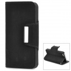 Stylish Flip-open PU Leather Case w/ Holder for Iphone 5 - Black