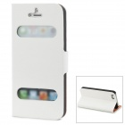 Protective Open Window PU Leather Case for iPhone 5 - White + Black + Orange