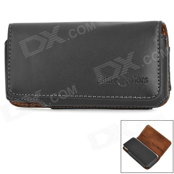 Protective Genuine Leather Case w/ Belt Clip for Iphone 5C / 5s / 5 - Black