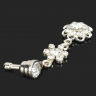 Fashionable Sparkling Crystal Inlaid Flower Pendant 3.5mm Jack Anti-dust Plug - Silver
