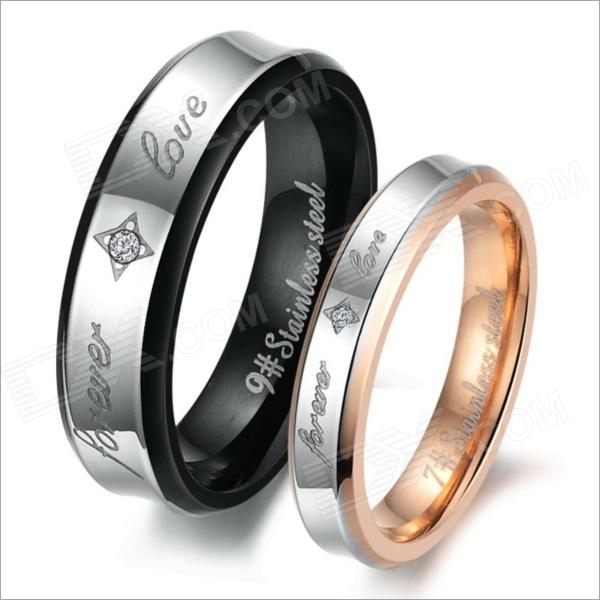 GJ283 Fashion Jewelry Stainless Steel Rhinestone Couple's Rings - Black + Golden (US Size 9 + 7)