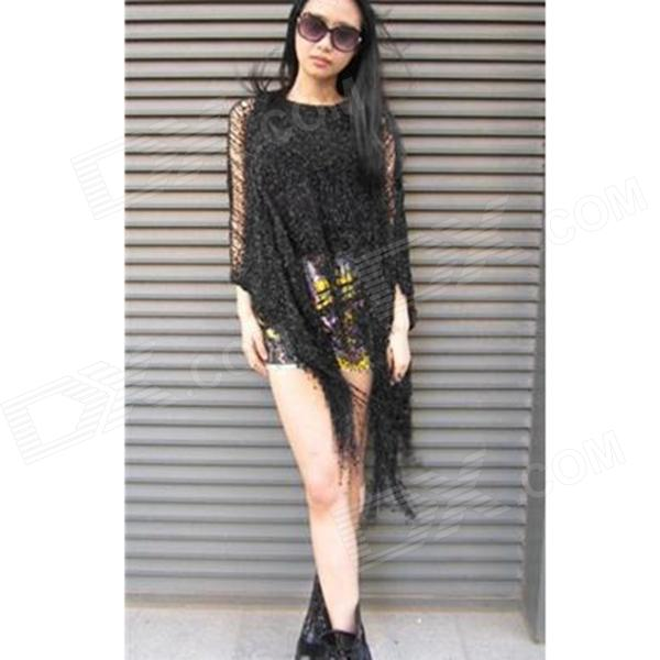 MO102 Fashionable Women's Mixed Spinning Loose Short Cloak w/ Tassel - Black