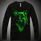 TX-2 Men's Stylish Glow-in-the-dark Wolf Head Pattern Cotton Shirt - Black + Green (XL)