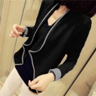 Woman's Fashionable All-match Blended Fabric Knitwear Blazer - Black + White
