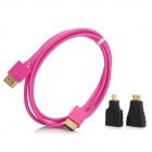 3-in-1 HDMI female to Micro / Mini HDMI Male Adapters + HDMI Male to Male Connection Cable - Violet