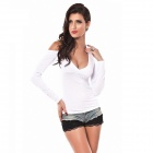 Sexy Beauty Slim Fit V-Neck Long-Sleeve T-Shirt - White (Free Size)