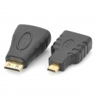 3-in-1 HDMI female to Micro / Mini HDMI Male Adapters + HDMI Male to Male Connection Cable - White