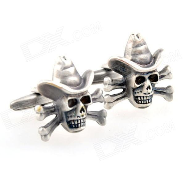 Pirate Skull Plating Stoving Varnish Cufflinks - Bronze (Pair)