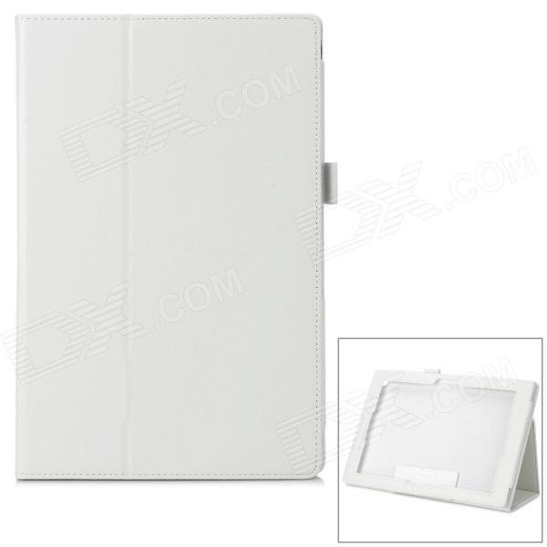 Protective Lambskin Flip-Open Holer Case for Sony Xperia Tablet Z - White sony xperia x perfomance ds f8132 white