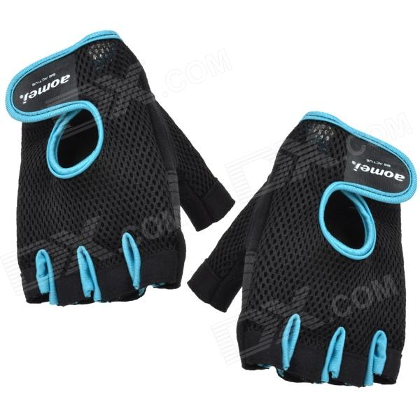 Outdoor Sports Fitness Half Fingers Gloves - Black + Blue (Pair)Supports &amp; Gloves<br>BrandN/A Quantity2 ColorBlack + Blue MaterialMicrofiber + polyester FunctionsNon-slip and warm keeping functions Best useMultisport Packing List2 x Gloves<br>