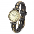 Fashion Rivet Cow Leather Band Round Dial Quartz Wrist Watch - Black + Bronze (1 x SR626)