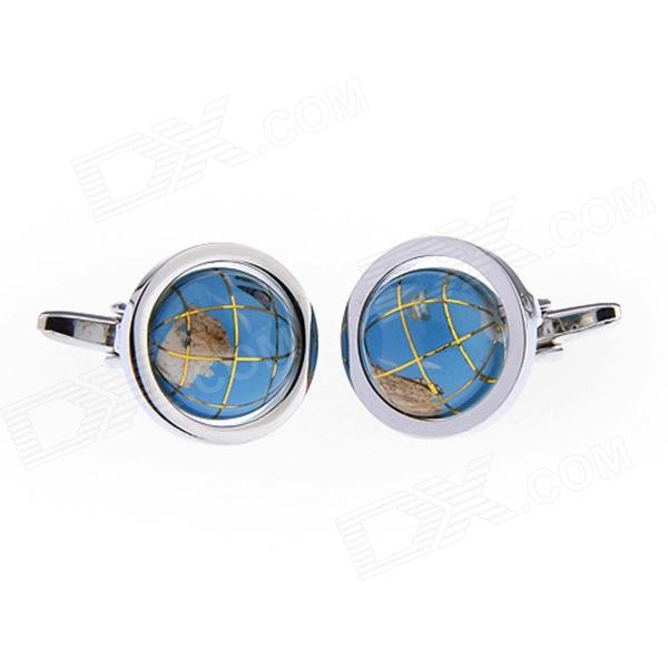 Round Tellurion Plating Enamel Cufflinks - Silver + Light Blue (Pair)