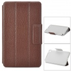 Lychee Pattern Protective PU Case w/ Stand for Google Nexus 7 - Brown