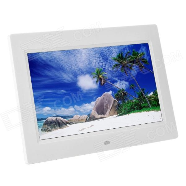 "1012 10"" TFT Digital Photo Frame w / Built-in Speaker / SD + Controle Remoto - Branco"