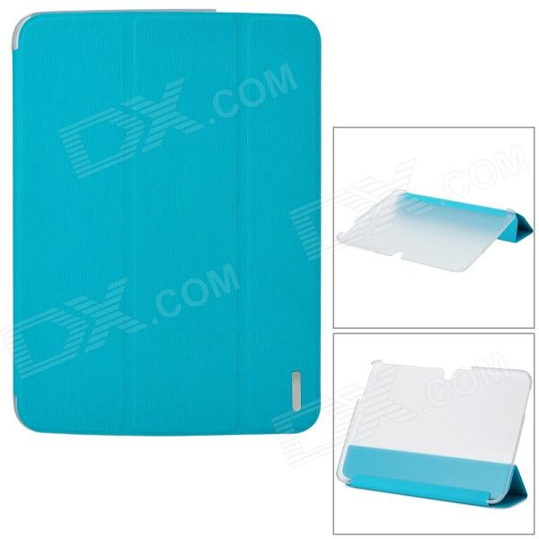 REMAX QC5200B PU + PC Case w/ Stand for Samsung Galaxy Tab 3 10.1 P5200 - Blue + Translucent