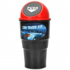 Car Trash Can Bin Holder w/ Push Cover - Black + Red