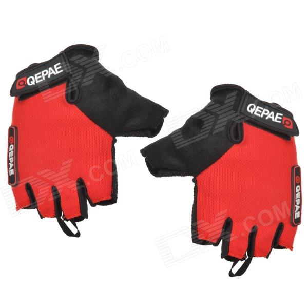 Qepae F035 Outdoor Sports Cycling Non-slip Half Fingers Gloves - Red + Black (Pair / Size L) good hand full fingers cycling gloves black red pair size xl
