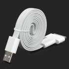 1-to-2 USB Male to Apple 30 Pin + Micro USB Male Data Sync & Charging Flat Cable - White (108cm)