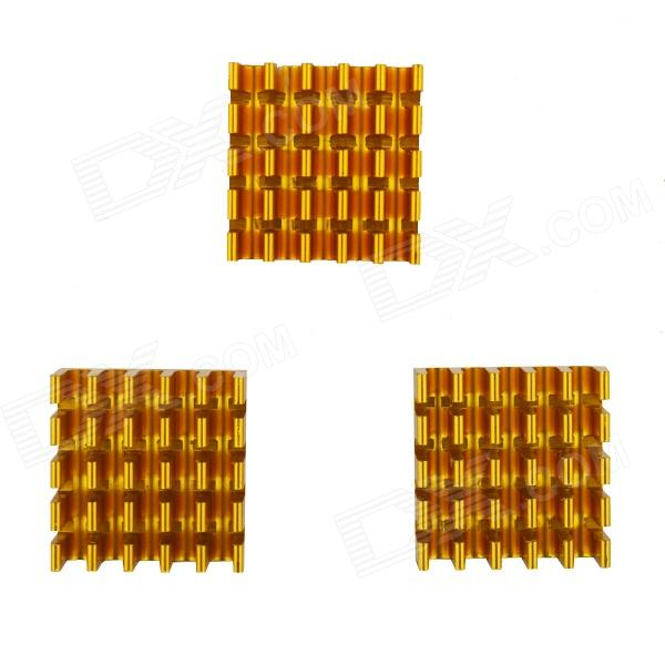 High Performance Anodized Aluminium Heatsink Radiator - Golden (22 x 22 x 10mm / 3 PCS) - DXHardware Cooling Gears<br>Brand N/A Model 40120019 Color Golden Quantity 3 Material Anodized aluminium Application Heatsink Others Baseplate thickness: 2mm; Blade thickness: 1.2mm; Number of blades: 6; Blade pitch: 2.96mm; Application Heatsink Packing List 3 x Radiators<br>