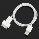 1-to-2 USB Male to Apple 30 Pin + Micro USB Male Data Sync & Charging Cable - White (108cm)